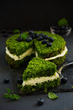 Beautiful green cake with spinach Royalty Free Stock Photography