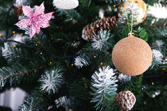 Beautiful green Christmas tree with Golden silver balls Stock Image