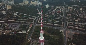Cityscape with TV tower. Beautiful green cityscape with the TV Tower in Kyiv in Ukraine. Aerial video recording stock video
