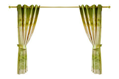 Beautiful Green curtain opened on white background. Royalty Free Stock Photography
