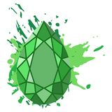 Beautiful green diamonds shapes on green watercolor background. Royalty Free Stock Image