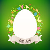 Beautiful Green Easter Card With Symbols of Spring Stock Photo