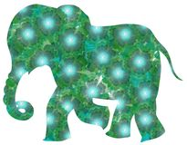Beautiful green elephant from flowers on white background Stock Photos