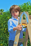 The beautiful green-eyed boy. Spoiled by attention climbed up a wooden sliding ladder Royalty Free Stock Photography