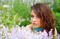 Beautiful green-eyed girl outdoor Stock Photo