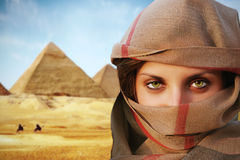 Beautiful green eyed woman in chador Stock Photography