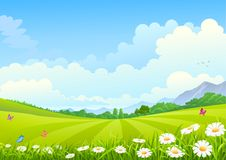 Panoromic view of Vast green filds. Beautiful green farmlands in asia with mountains, flowers and butterflies on a summer time Royalty Free Stock Photos