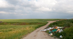 Beautiful green Field in spring full of Garbage Stock Photography