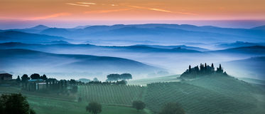Beautiful green fields and meadows at sunset in Tuscany Stock Photos