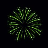 Beautiful green firework. Bright firework isolated on black background. Light green decoration firework for Christmas. New Year celebration, holiday, festival Royalty Free Stock Photos