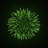 Beautiful green firework. Bright firework isolated on black background. Light green decoration firework for Christmas. New Year celebration, holiday, festival Stock Images