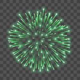 Beautiful green firework. Bright salute isolated transparent background. Light decoration firework for Christmas, New. Year celebration, holiday, festival Royalty Free Stock Image