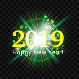Beautiful green fireworks with a bright flash of light and greetings Happy New Year 2019. On a transparent background. Eps 10 vector stock illustration
