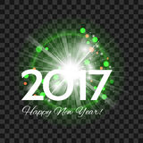 Beautiful green fireworks with  greetings  Happy New Year 2017!. Beautiful green fireworks with a bright flash of light and greetings Happy New Year 2017! on a Stock Image