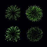 Beautiful green fireworks set. Bright fireworks isolated black background. Light green decoration fireworks for. Christmas, New Year celebration, holiday Royalty Free Stock Images