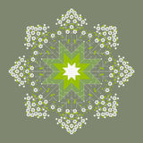Beautiful green flower spring mandala. Decoration textile design Royalty Free Illustration