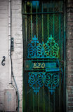 Beautiful green gate door, old city detail Stock Photography
