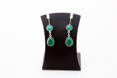 Beautiful green gemstone silver ear rings Stock Photography