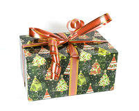 Beautiful green gift box with bows Royalty Free Stock Photography