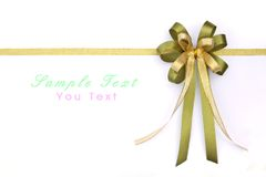 Beautiful green and gold bow Royalty Free Stock Photography