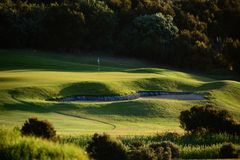 A beautiful green golf course, manicured green grass and golden evening light. stock image
