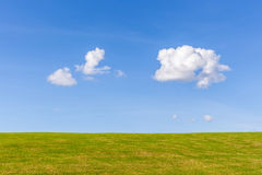 Beautiful green grass field with cumulus cloud and blue sky back Stock Photography