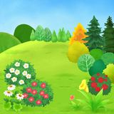 Beautiful Green Hill Children Book Illustration. For any purpose such as book cover and illustration, home decoration, wallpaper, print on post card, canvas Vector Illustration