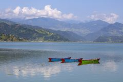 Beautiful green hills landscape from boat view on Phewa lake, Pokhara, Nepal Stock Photo
