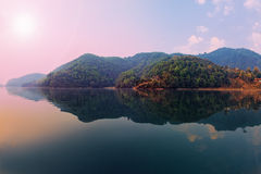 Beautiful green hills landscape on Phewa lake Stock Photography