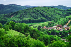 Beautiful green hills in little village. Breitenbach, Alsace, France Stock Photography