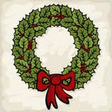 Beautiful green holly leaves wreath seasonal illus Stock Image