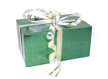 Beautiful green holographic gift box with bows Royalty Free Stock Photo