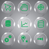 Beautiful Green Icons Set. Glass icons vector illustration set Color green Stock Photo