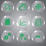 Beautiful Green Icons Set Stock Photo
