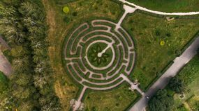 A beautiful green labyrinth in the botanical garden named after M.M. Grishka, Kiev, Ukraine Royalty Free Stock Photo