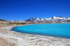 Beautiful Green Lagoon, Laguna Verde, near mountain pass San Francisco and Nevado Ojos Del Salado, Atacama, Chile Royalty Free Stock Image