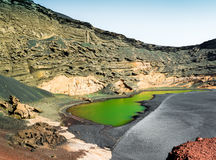 Beautiful green lake Lago Verde inside crater on Lanzarote Stock Image