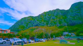 A beautiful green landscape of a mountain on Oahu in hawaii royalty free stock image
