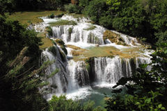 Beautiful green landscape with waterfalls Royalty Free Stock Photo