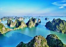 Beautiful green limestone mountains in halon bay Stock Photo