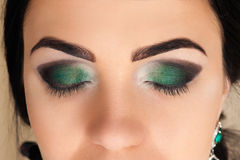 Beautiful green makeup Stock Photo