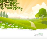 Breath taking scene of a path going through green fields towards the hills. stock illustration