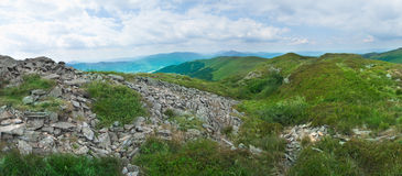 Beautiful green mountain panorama with blue sky above Royalty Free Stock Image
