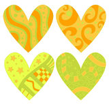 Beautiful green and orange heart collection Royalty Free Stock Photos