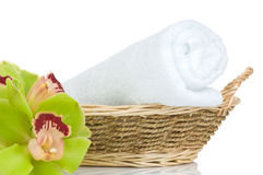 Beautiful green Orchid and towel Royalty Free Stock Images