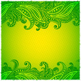 Beautiful green paisley ornamental frame Stock Photos