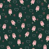Beautiful green pattern with sweet dessert ice cream ice cream and hearts. Seamless background for St. Valentine`s holiday lovers Stock Images