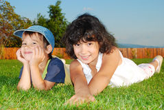 Beautiful green place and children activities Stock Photography
