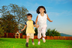 Beautiful green place and children activities Royalty Free Stock Photos