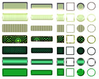 A beautiful green selection of website buttons in different shapes. A colorful green selection of buttons to add to your website on the internet Royalty Free Stock Image